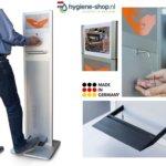 Aluminium desinfectiezuil voor handdesinfectie met voetpedaal