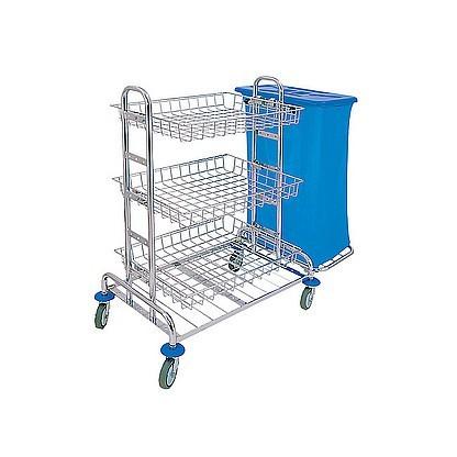 Splast chroom schoonmaak trolley met 3 manden en 1x 120l of 2x 120l zakhouders Splast ZS-0005,ZS-0012