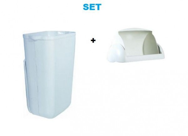 Plastic waste bin 23L MP 742 with folding lid for ladies hygiene SET by Marplast Marplast S.p.A. MP742,748