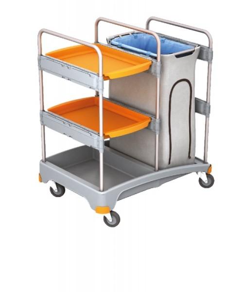 Splast werkwagen met afvalzak houder inclusief een begeleidende en met 2 trays Splast TSZ-0014