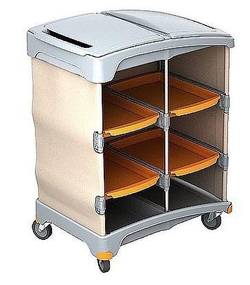 Splast schuurspons- trolley met 4 bakjes en plastic kap Splast TSH-0010
