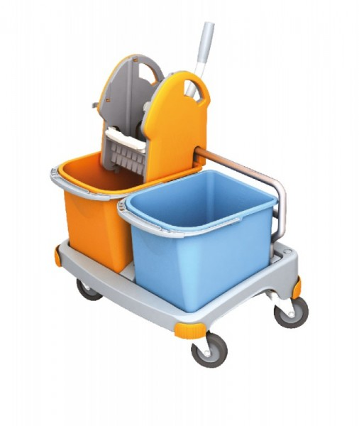Splast kleine schoonmaak trolley in oranje en blauw met wringer en 2 plastic emmers Splast TS-0025