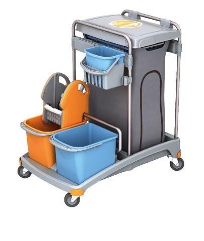 Splast trolley set met afvalzak houder incl. deksel, met 3 emmers en wringer Splast TSS-0009
