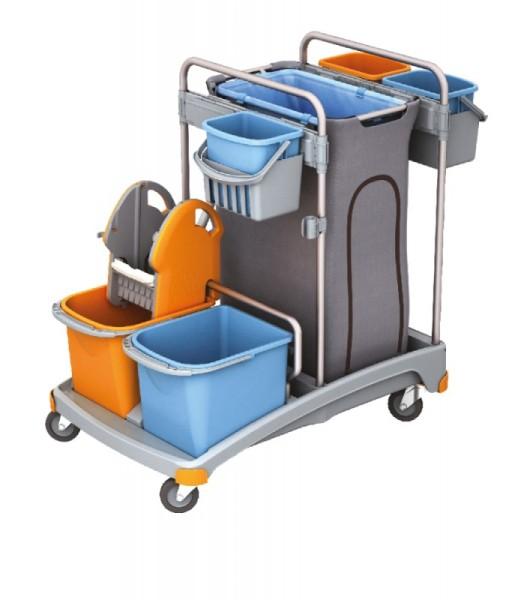 Splast plastic trolley set incl. afvalzak houder 120 l, 5 emmers en wringer Splast TSS-0008