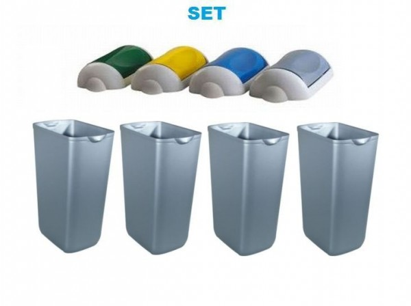 Waste seperation SET ''Swing'' 4x waste bin 23 liter satin + 4x colored lids by Marplast Marplast S.p.A. MP742,MP742