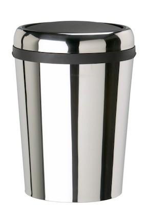 Rossignol Zwenkbare ovale roestvrijstalen afvalbak met swing deksel 59 liter Rossignol 59796