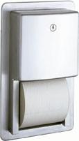 Bobrick B-4388 recessed multi-roll toilet tissue dispenser of stainless steel Bobrick B-4388