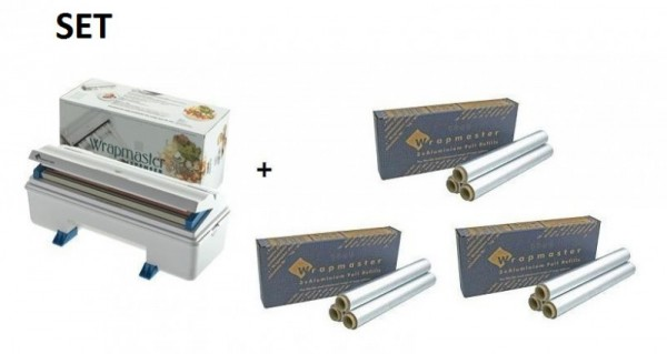 SET Wrapmaster WM3000 en 3 Dozen aluminumfolie met geteste legering nummer Wrapmaster 63M90,24C62