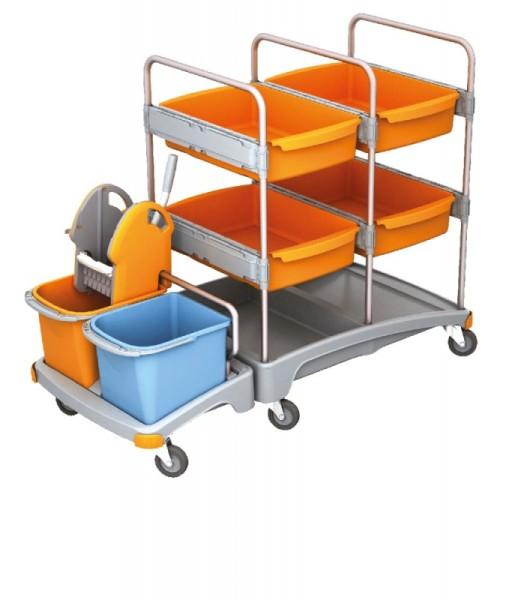 Splast mobiel systeem voor de reiniging van kunststof met 4 laden, wringer en emmers Splast TSZ-0008