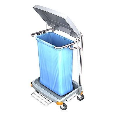 Splast grijze plastic afval trolley 120l met pedaal - zak bekleding is optioneel Splast TSOP-0002,TSOP-0004