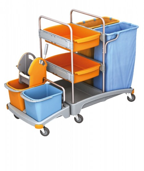 Splast werkwagen met 2 afvalzakhouders elk 120l, wringer en 2 trays Splast TSZ-0019