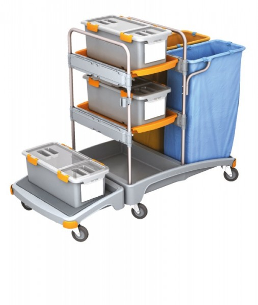 Splast schuurspons- trolley met 2 afvalzakhouders, 3 mop dozen en 2 trays Splast TSZD-0003