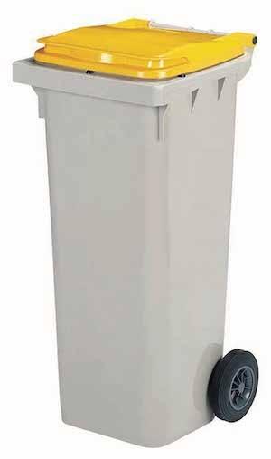 Rossignol Korok grijze polyethyleen afvalcontainer verkrijgbaar in 3 maten 120/240/340L Rossignol 56664,56666,56667,56621,56622,56623,56631,56632,56633