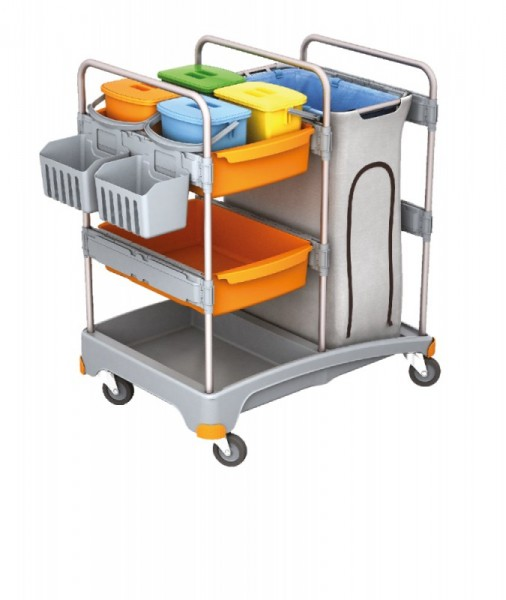 Splast plastic schoonmaak trolley met zakhouder, 4 emmers, 2 manden en een plank Splast TSZ-0012