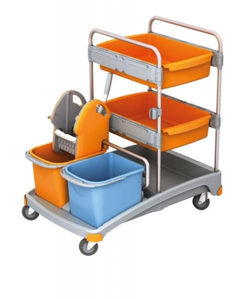 Splast plastic schoonmaak trolley set met wringer, twee emmers en twee laden Splast TSS-0011