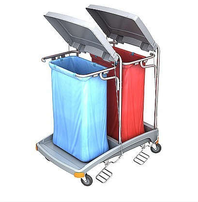Splast dubbele plastic afval trolley met pedaal en deksel - bekleding is optioneel Splast TSOP-0006,TSOP-008