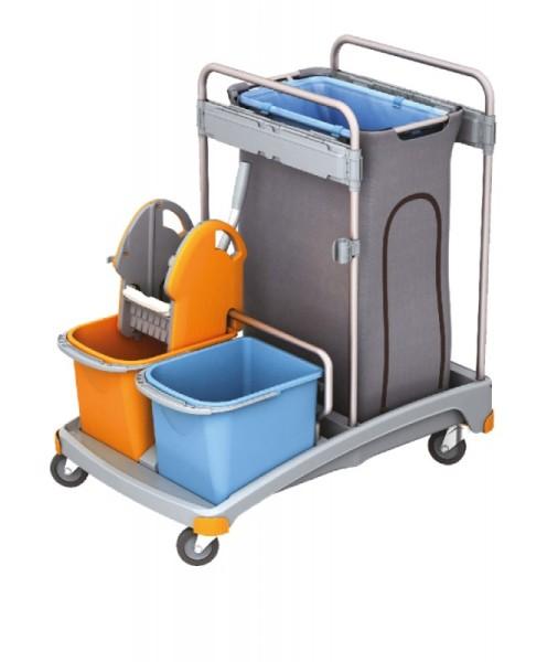 Splast werkwagen set met wringer, 2 emmers en vuilnis zakhouder met dekking 120 l Splast SP000002