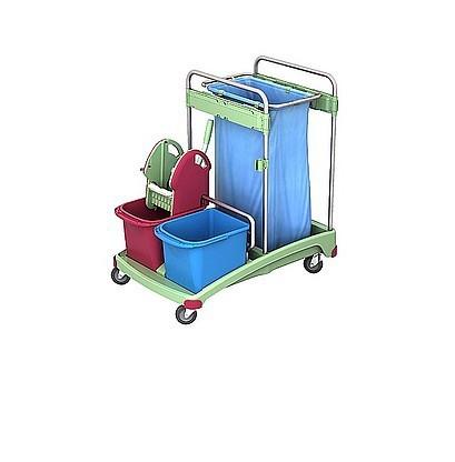 Splast kunststof trolley met afvalzakhouder 120l, 2 emmers en wringer Splast TSSA-0001