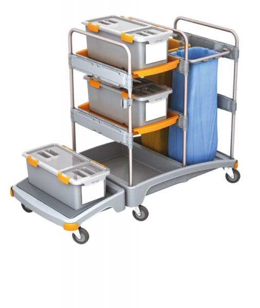 Splast schuurspons- trolley met 2x 70l afvalzakhouders, 3 mop dozen en plank Splast TSZD-0004