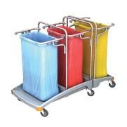 Splast triple plastic afval trolley 3 x 120l - deksel is optioneel Splast TSO-0009,TSO0010