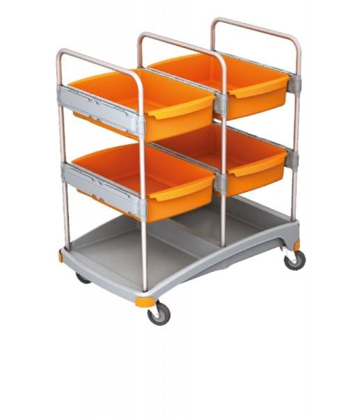 Splast mobiel systeem voor de reiniging van kunststof - met 4 laden - oranje/grijs Splast TSZ-0015