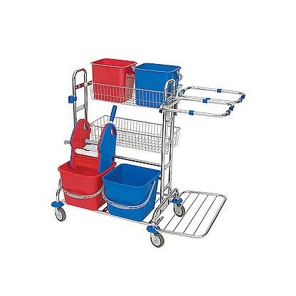Splast chroom trolley met 4 emmers, 2 manden, wringer en 2x 70l zak frames Splast ZS-0010