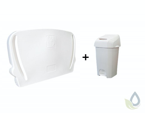 Horizontale inklapbare commode voor wandmontage en wit 60L luieremmer in SET Vectair Systems NB60W,JBABYHORII