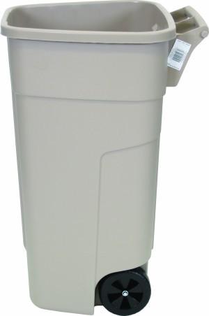 RUBBERMAID mobiele-afval container 100 liter in beige gemaakt van polyethylen Rubbermaid RUR002218