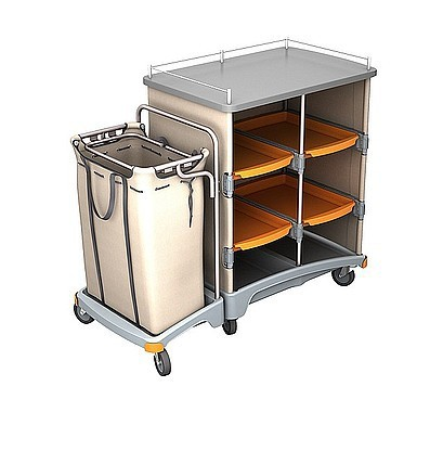 Splast hotel trolley met plank en tafelblad inclusief linnen zak 120 liter Splast TSH-0002