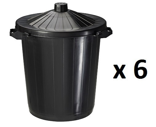 6 x 80L Rossignol plastic refuse containers with lid Rossignol 91996