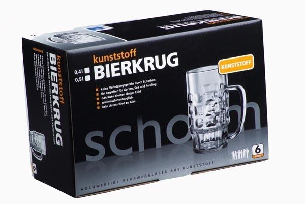 Cadeau-box: 6 stuks bierpul 0,4L SAN gemaakt van hoogwaardig kunststof + Karton - Schorm GmbH 9003+9004