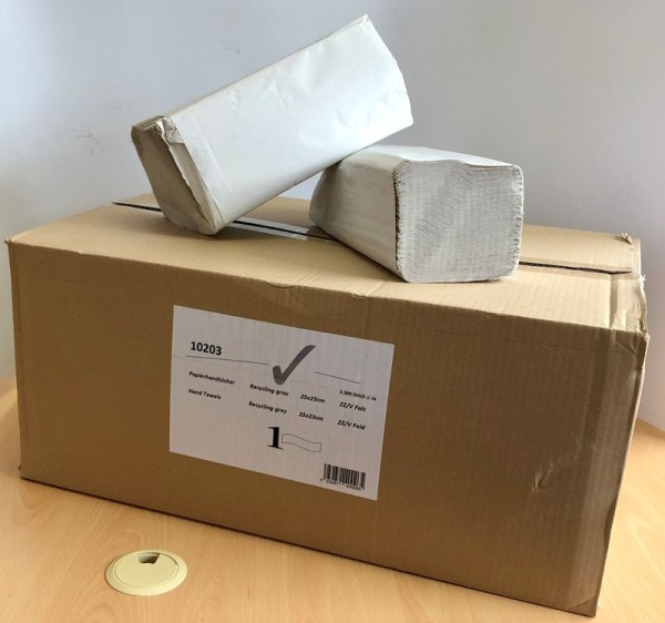 Papierhandtuch, 25x23cm, 1-lagig, hellgrau, ZZ/V-Falz, VE 5000 Stk. 10203