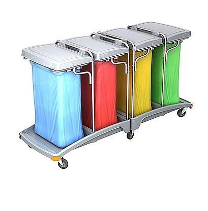 Splast mobiele quadruple plastic afval trolley inclusief deksel 4 x 120l Splast TSO-0014