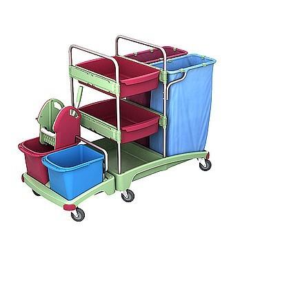Splast schuurspons- trolley met 2 x 120l afvalzakhouders, wringer en plank Splast TSZA-0019