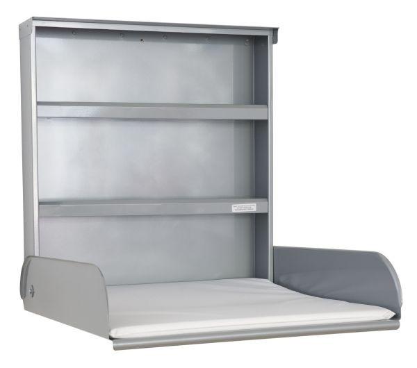 Baby tafel metaal opklapbaar + opbergsysteem + verschoonmatras - Design Zilver ByBo Design 10224