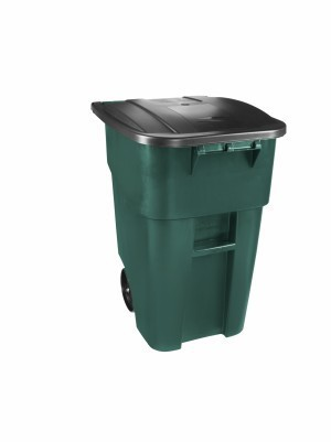 Roull-out container made of plastic with lid in blue or green RUBBERMAID Rubbermaid RU FG9W2700BLUE