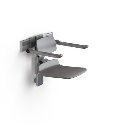 Pressalit shower seat white or anthracite gray - light gray cover plate on wall rail Pressalit R7450182000,R7450182112