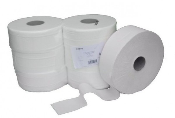 Jumbo toilet paper rolls packing unit 6 pieces - 300m - cellulose - bright white 22102