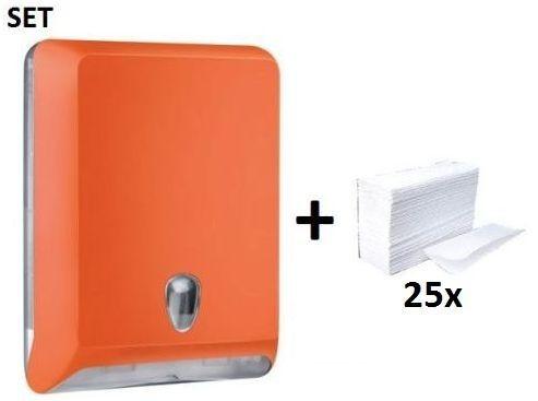 Plastic papertowel dispenser MP830 in orange + papertowels SET by Marplast Marplast S.p.A. MP830,10102