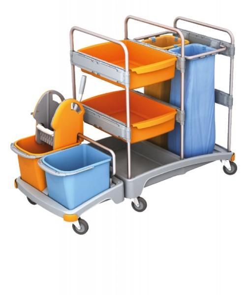 Splast werkwagen met wringer, zak houders en emmers - 2x 6l emmers optionele Splast TSZ-0017,TSZ-0018