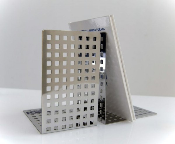 QUADROTTO boekensteunen gemaakt van roestvrij staal, 2 stuks G-line Pro K00016160