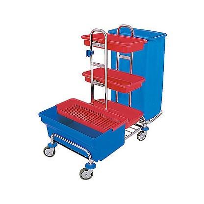 Splast chroom trolley met zakhouder 120l, desinfectie bad 40l en plank Splast ZS-0007