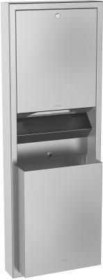 Franke papieren handdoekdispenser- en afvalbakcombinatie gemaakt van RVS Franke GmbH RODX602
