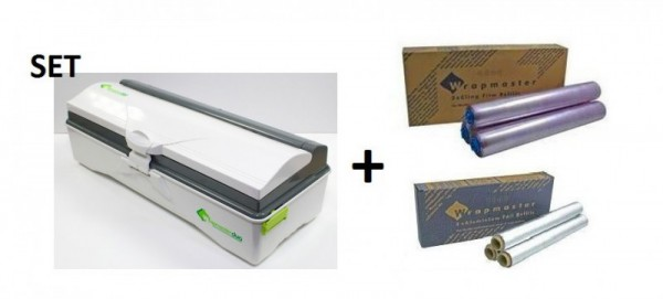 Vershoud- en aluminiumfolie + Wrapmaster duo dispenser voor nauwkeurige handling Wrapmaster 63M50,18C15,23C89