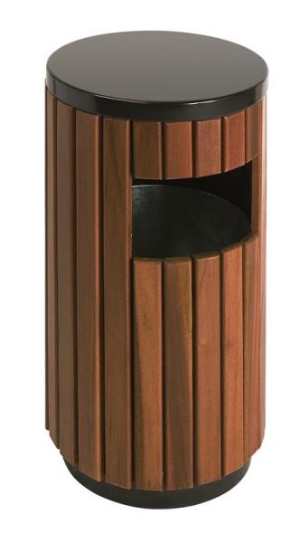 Buitenafvalbak 33 ltr bestaande uit een stalen frame met hout look. 31011162