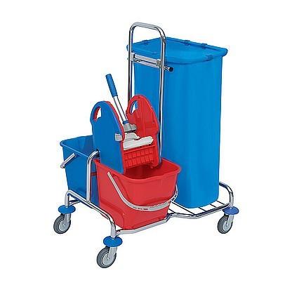 Splast chroom schoonmaak trolley met emmers, afvalzakhouder 120l en wringer Splast SER-0004,SER-0005