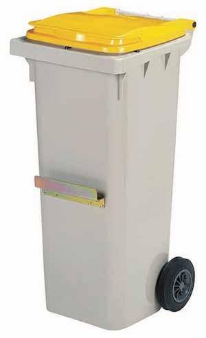 Rossignol Korok grijze polyethyleen afvalcontainer verkrijgbaar in 3 maten 120/240/340L Rossignol 56671,56672,56673,56626,56627,56628,56636,56637,56638