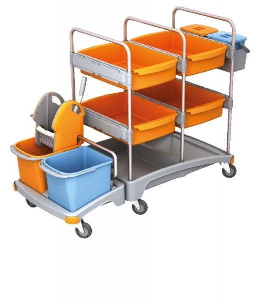 Splast mobiele plastic reinigingssysteem met 4 laden, 2 manden, wringer en emmers Splast TSZ-0009
