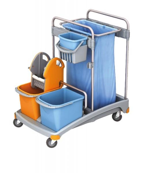 Splast plastic schoonmaak trolley met emmers, zakhouder 120 l, wringer en trays Splast TSS-0003