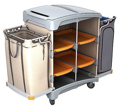 Splast plastic hotel schoonmaak trolley met afvalzakhouder, linnen zak en plank Splast TSH-0011